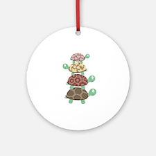 Turtle family Round Ornament