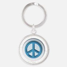 Carved Marble Peace Round Keychain