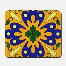 Orange And Blue Spanish Tile Design Mousepad