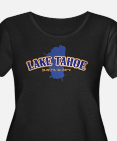Lake Tahoe with map coordinates Plus Size T-Shirt