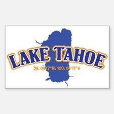 Lake Tahoe with map coordinates Decal