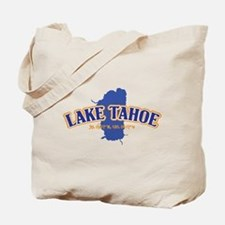 Lake Tahoe with map coordinates Tote Bag