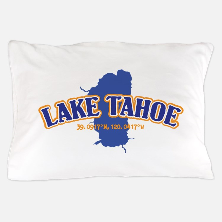 Lake Tahoe with map coordinates Pillow Case