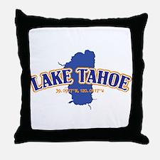 Lake Tahoe with map coordinates Throw Pillow