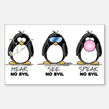 Hear no See no Speak No Evil Rectangle Decal