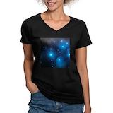 Stars Womens V-Neck T-shirts (Dark)