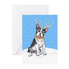Boston Terrier Reindeer Greeting Cards (Pk of 20)