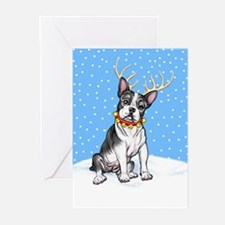 Boston Terrier Reindeer Greeting Cards (Pk of 20)