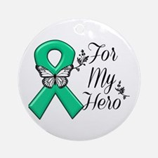 Liver Cancer For My Hero Round Ornament