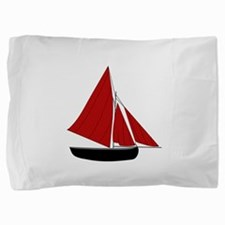 Red Sail Boat Pillow Sham