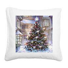Vintage Christmas Square Canvas Pillow