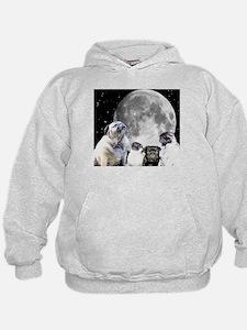 Four Pug Moon Hoodie Sweatshirt