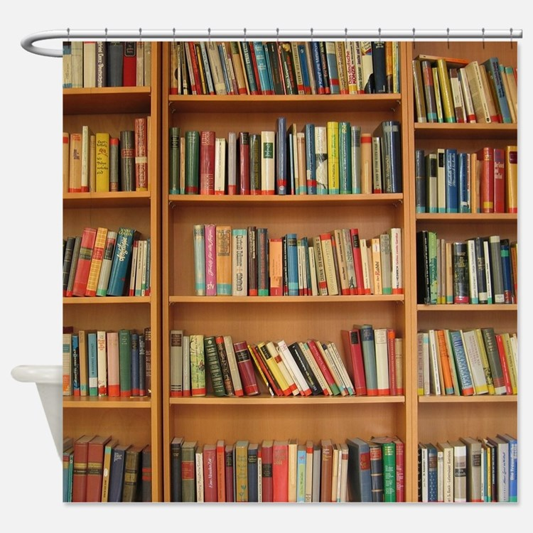 Bookshelf Books Shower Curtain