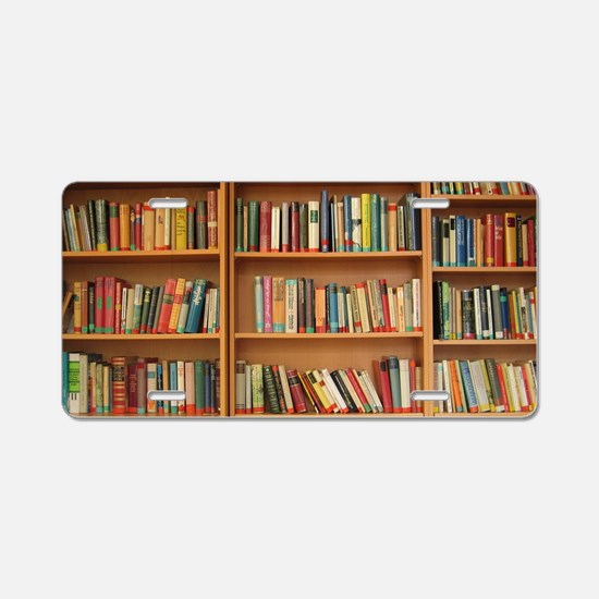 Bookshelf Books Aluminum License Plate