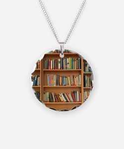 Bookshelf Books Necklace Circle Charm