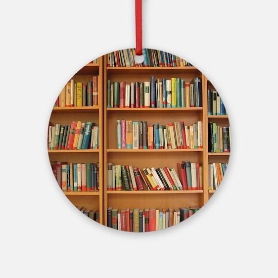 Bookshelf Books Round Ornament