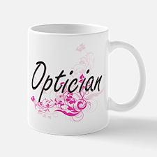 Optician Artistic Job Design with Flowers Mugs