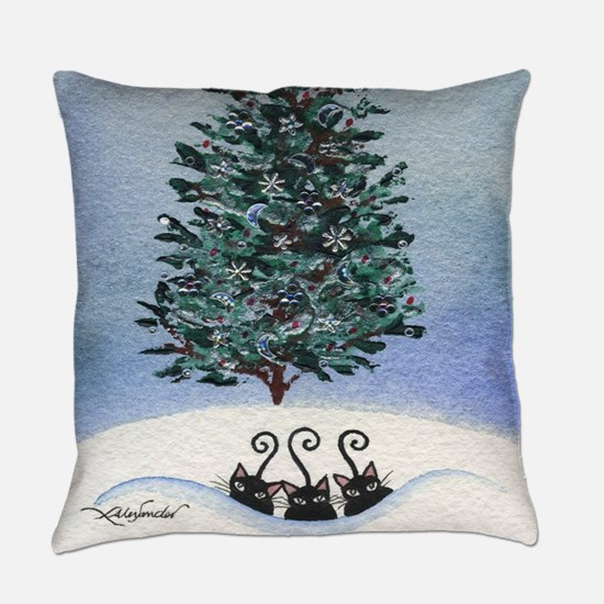 Christmas Tree Stray Cats Everyday Pillow
