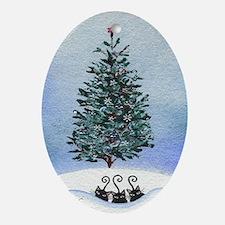 Christmas Tree Stray Cats Oval Ornament