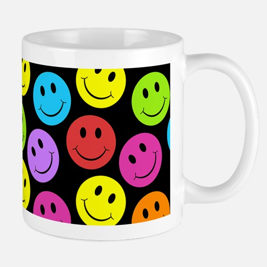 Happy Colorful Smiley Faces Pattern Mugs