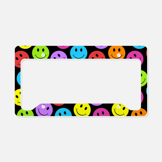 Happy Colorful Smiley Faces P License Plate Holder