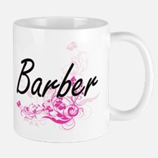 Barber Artistic Job Design with Flowers Mugs