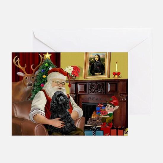 Santa's Black Cocker Greeting Cards (Pk of 20)