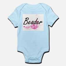 Beader Artistic Job Design with Flowers Body Suit