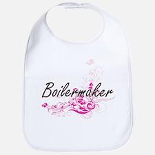Boilermaker Artistic Job Design with Flowers Bib