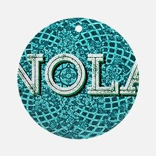 NOLA Elegant Turquoise Egg Round Ornament