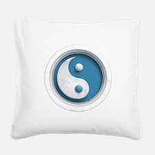 Marble Yin Yang Square Canvas Pillow