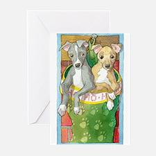 Cute Italian greyhound christmas Greeting Cards (Pk of 20)