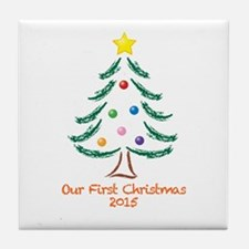 Our First Christmas 2015 Tile Coaster