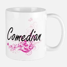 Comedian Artistic Job Design with Flowers Mugs