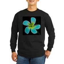 Turquoise Yellow White Flower Long Sleeve T-Shirt