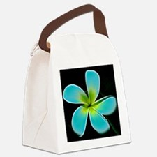 Turquoise Yellow White Flower Canvas Lunch Bag