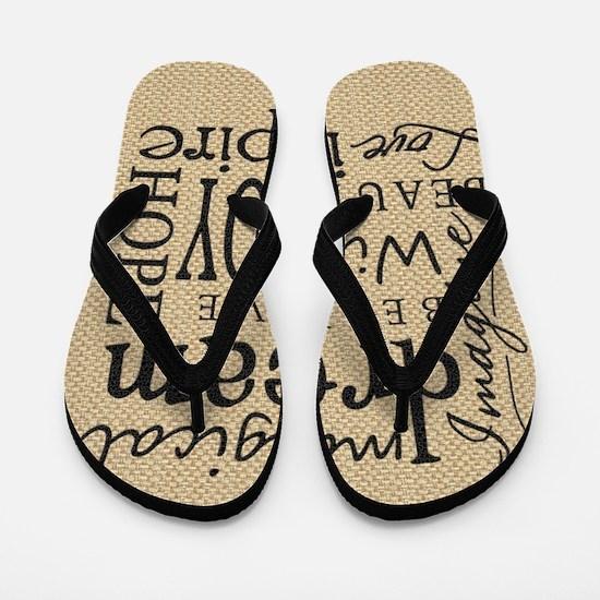 Dream Imagine Love Flip Flops