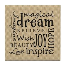 Dream Imagine Love Tile Coaster