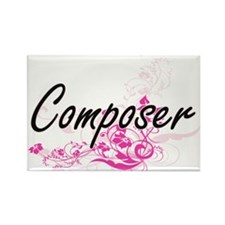 Composer Artistic Job Design with Flowers Magnets