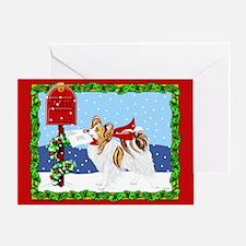 Christmas Papillon Mail Sable Greeting Card