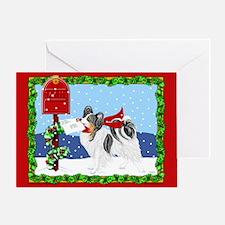 Christmas Papillon Mail Tri Greeting Card