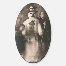 Christmas Girls and Snowman Vintage Sticker (Oval)