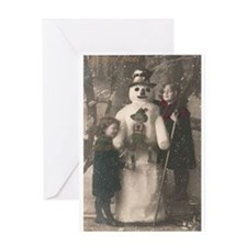 Christmas Girls and Snowman Vintage Greeting Card