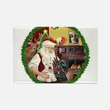 Santa's Two Scotties (P2) Rectangle Magnet