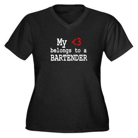 Bartender Women's Plus Size V-Neck Dark T-Shirt