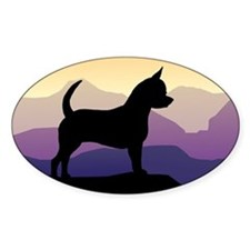 Chihuahua Purple Mountains Oval Decal