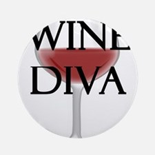 Wine Diva Round Ornament