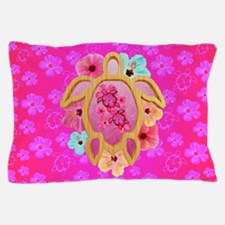 Hawaiian Pink Turtles And Flowers Pillow Case