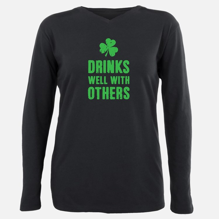 Cute Drinks Plus Size Long Sleeve Tee