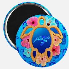 Hawaiian Turtle Swimming And Tiki Masks Magnets